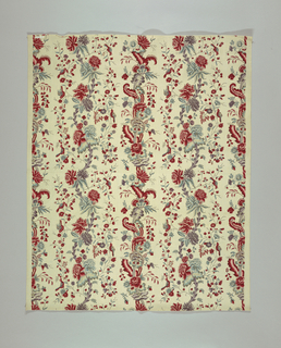 Undulating stripes of flowers and leaves with birds. Printed in red, blue, purple and green on a white ground. Possibly a reproduction of an Oberkampf design.