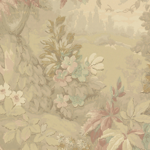 Landscape vignettes visible through tree trunks and foliage, printed in shades of gray, red and blue-green.