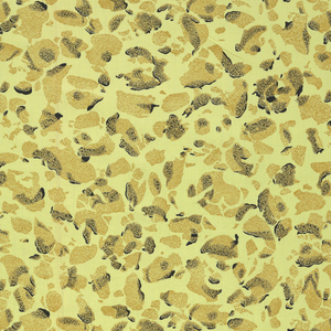 Irregular shapes in tan and black irreglarly spaced on a dyed yellow background.