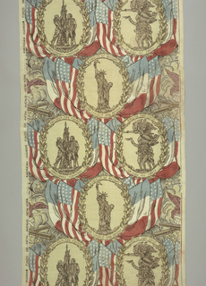 Textile printed in red, white, blue, buff, grey, etc. commemorating French and American friendship groups in oval medallions, with Statue of Liberty in center.