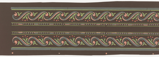 "Wave design composed of ""s"" scrolls. Within each wave is a foliate sprig with berries. Above is a bead-and-reel molding. Printed two across."