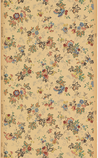 Small-scale vining floral design. Very fine pinstripe background design. Printed in colors on ungrounded paper.