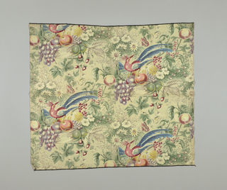 Reproduction of a nineteenth century design of a bird on a basket with flowers.