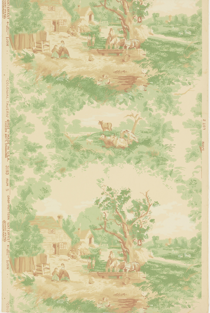 "Composed of two different sized pastoral scenes each framed in foliage. The larger depicts a barnyard scene with men at work, cattle and poultry feeding. The smaller depicts grazing cattle. Reproduced from an old wallpaper on the walls of the Bullfinch Home at Oxford, New Hampshire. Printed on reverse: Birge trademark, ""sidewall 3193, waterfast, light-resisting"". Printed in russet and green on deep cream field. Not original colors."