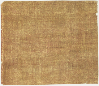 Red, varnished, embossed ground which shows through overprinting of gold.