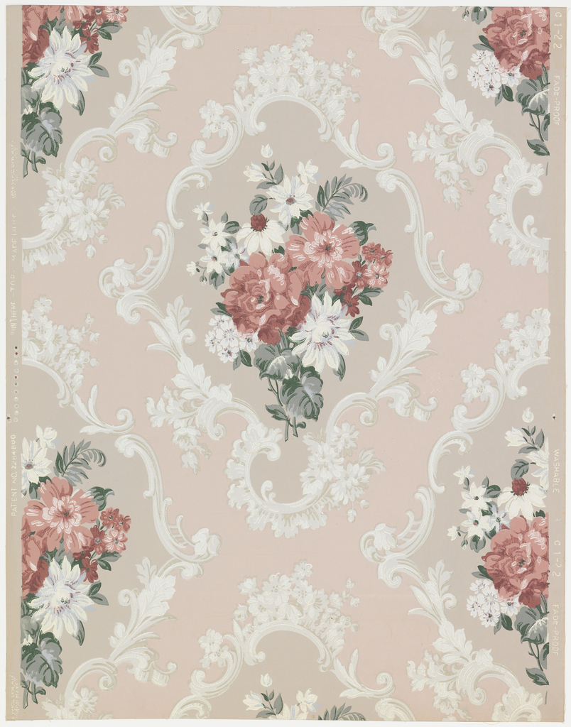 A floral bouquet of roses and assorted flowers in a medallion with a frame of Rococo scrolls. Arranged in diagonal pattern. Entire paper is embossed with fine parallel horizontal lines. Printed in mauve-gray, white, rose and green on peach field.