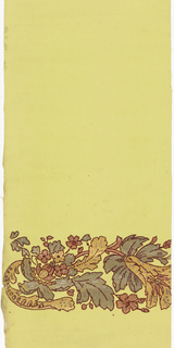 Wide band of scrolling foliage and floral motifs near bottom edge. Printed in gold, silver, copper and green mica with burgundy flock outlines. Printed on light green fabric support.