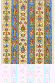Floral stripe design, printed on striped background. The background stripes alternate between deep blue and off-white, separated by a strand of strung beads. Printed in blue, red, yellow, black, green and brown on textured white ground.