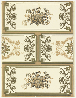 Design simulates a masonry design or ashlar block with alternating blocks, one row of full width of blocks and the second row composed of two half blocks. Bands and scroll work of inner border in each row of blocks are identical. In center of one row of blocks is a spray of flowers and grain. In the alternating row is a Gothic fleuron. Printed on polished ground.