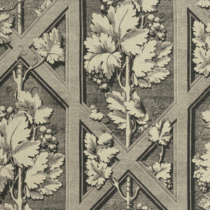 Grape vines set against a lattice framework, in the style of late Renaissance engraving, in black on a tan ground.
