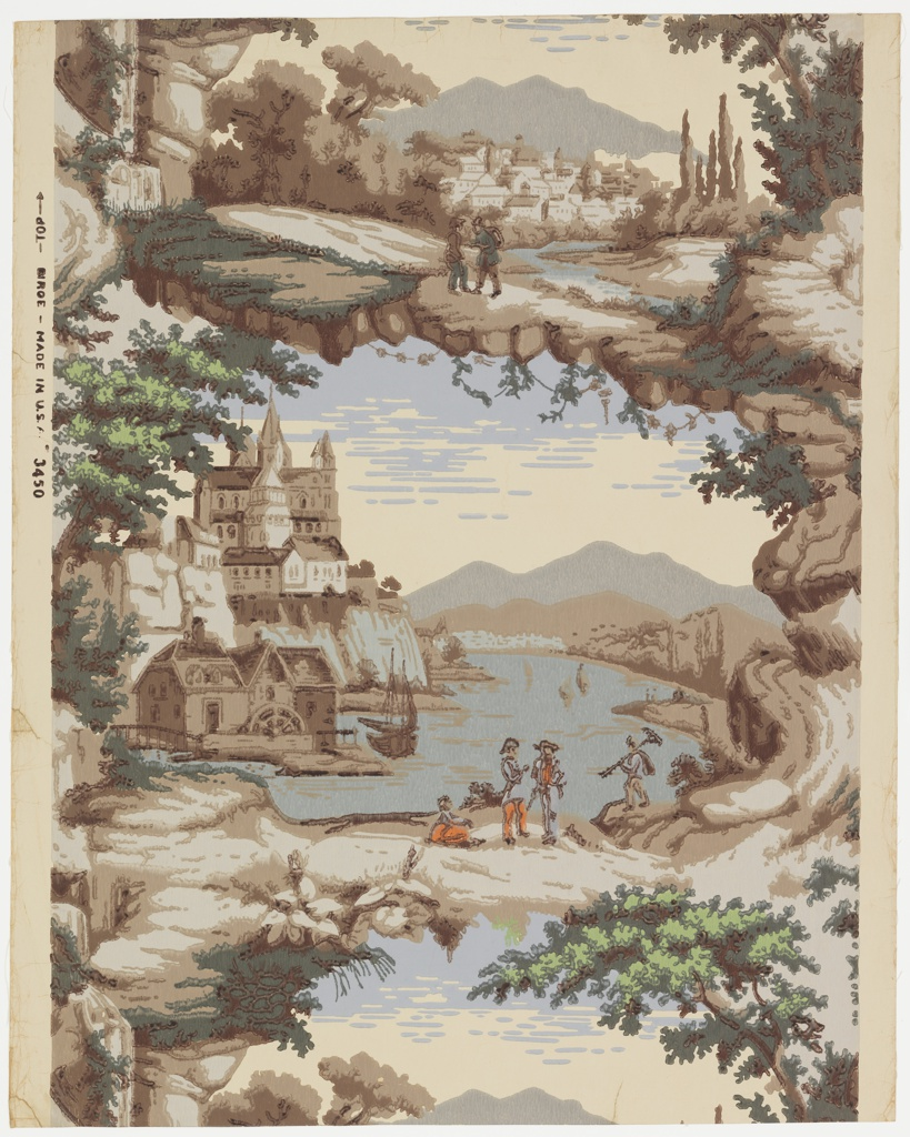 A scenic wallpaper consisting of two vignettes. One scene portrays a broad river with a church and a monastery on a high bluff at a bend of stream and a mill at its base. A sailboat is anchored nearby and a group of people are on the beach. The second scene shows a distant village with mountains behind and two men in the foreground by a brook.