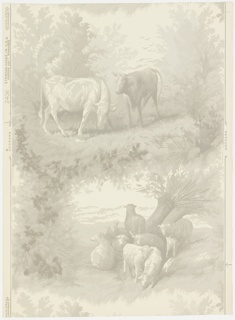 Design is composed of two alternating motifs of pastoral scenes. The one consists of two grazing cows and the other of a flock of eight sheep under a tree. Printed in grisaille on off-white ground.