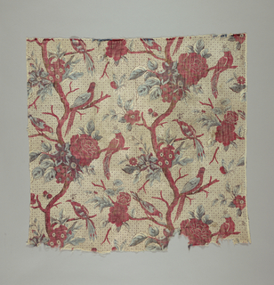 Printed cotton with flowering trees with birds perched on branches on a small scale background pattern of overlapped circles.