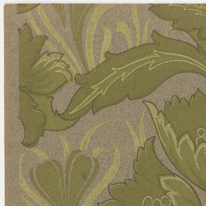 "Oversized, flamboyant group of five poppies with swirling stems and leaves, surrounded by small clusters of flowers (Chinese lanterns, jonquils), and leaves. On a course, rough-textured paper. Art nouveau style. Printed in selvedge: ""Exclusive Design No 2732 AG."""