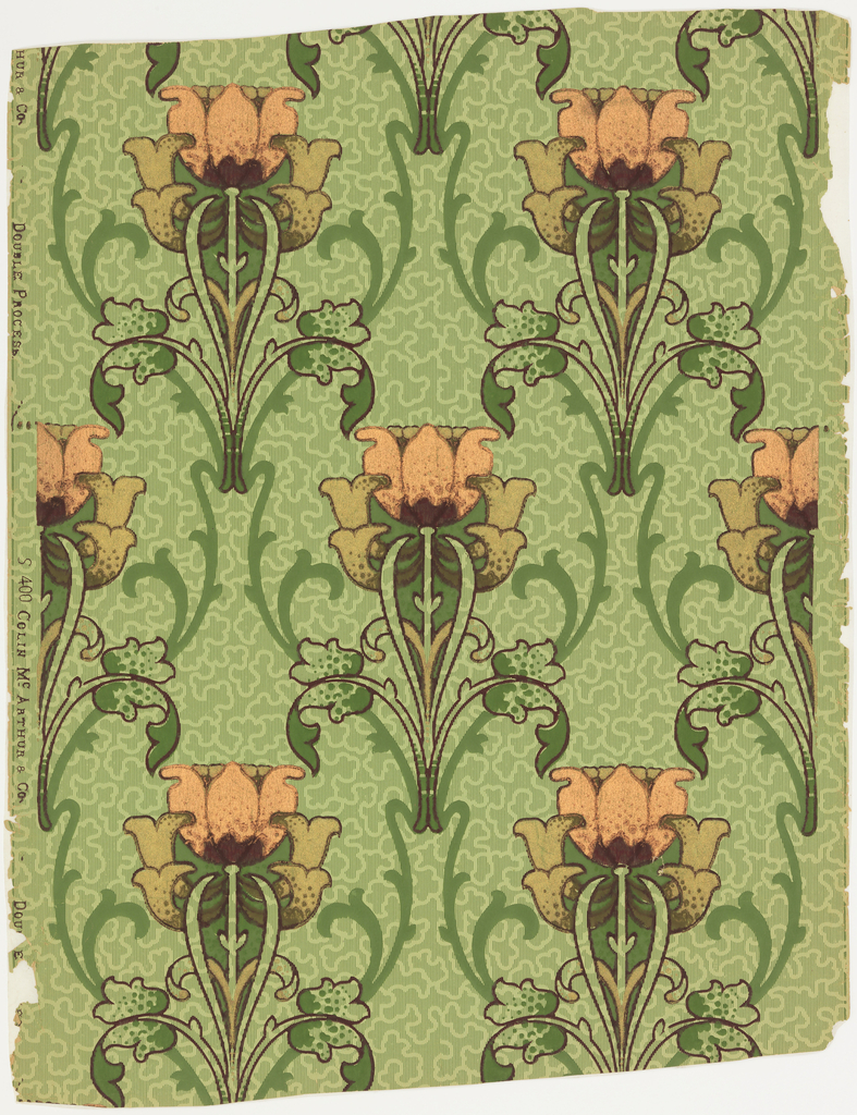 Stylized tulips, outlined in maroon, with metallic copper-colored petals, printed over pale green ground with fill pattern of irregular closed forms created by vertical pinstriping with reserved areas. The regularly repeating tulips are connected by formalized green scrollwork.