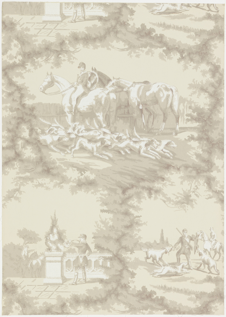"Design composed of one large medallion and two half sized medallions framed in foliage. Each is a hunting scene with hunters, horses, and hounds. Reproduction of an old paper at least 100 years old. Printed on reverse: ""Birge, waterfast, glaze-tek, sidewall 2929 A""."