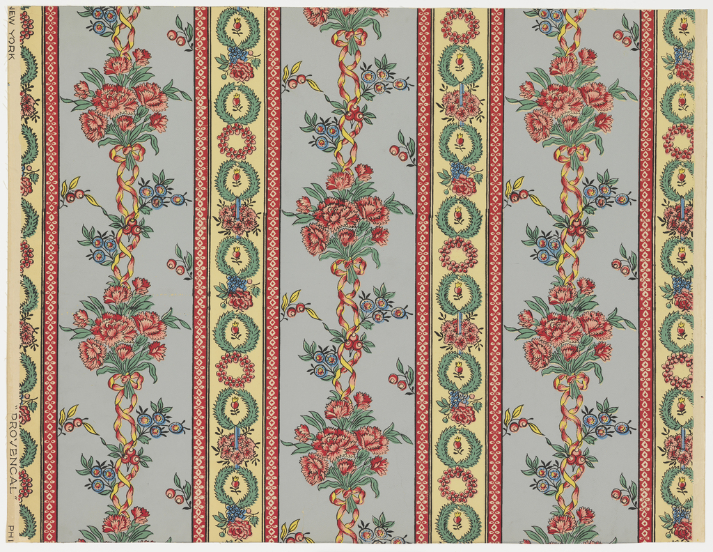 "A reproduction of a wallpaper printed in France originally by Paul Dumas. The design is inspired from printed textiles of the period of Louis XVI, bouquets of carnations joined together with ribbons. A narrow alternating stripe is composed of small wreathes with various floral sprays between. The stripes are separated with narrow red bands with small geometric designs. Printed in selvege"" Phila., New York, 'Provencal'"". Printed in red, black, green and blue on alternating fields of gray-blue and gold stripes."