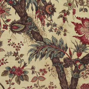 Furnishing fabric. Pattern of large scale chinoiserie flowering branches printed in deep purple, red, green, blue, and yellow on white ground.