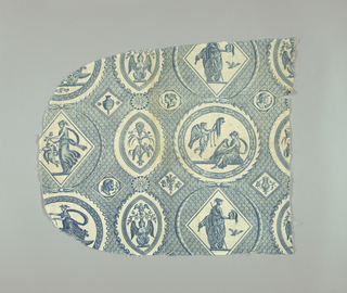 Circular and oval cartouches containing goddesses and decorative ornament on a background of scalloped lines. In blue on white.