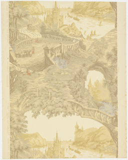 "A landscape paper with a Swiss influence. It comprises romantic scenes of medieval castles and crags above a river. Reproduced from an old paper which was hung in the house of Dr. Cook on Norman Street, Salem, Massachusetts. It was put up in 1852, but was in print many years before that date. Printed on reverse: ""Birge, waterfast, Glaze-tek, Old Salem, sidewall 2910B"". Printed in beige, tan, ivory, blue and red on cream field. Not original colors."