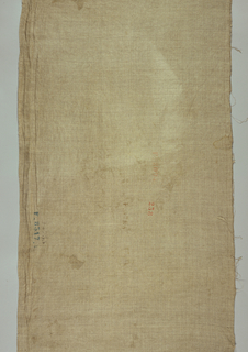 Length of unbleached linen with merchants marks stamped on it. The marks indicate agents and/or merchants.
