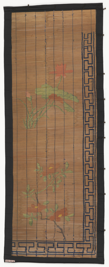 Large-scale water lily as central motif. Greek key design along left edge.