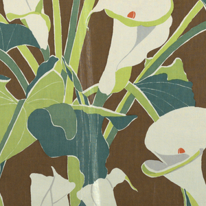Design of calla lilies and leaves in shades of green, white, gray, and orange against a dark brown ground.