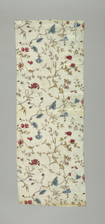 Allover pattern of long flowering branches which hook together to form a continuous very linear pattern on the white cotton fabric. Flowers include sweeat peas, morning glories, clover, and yarrow.