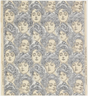 "Repeating pattern containing the faces of Charles Dana Gibson's unmistakable ""Gibson Girls"". a) The faces are printed in black with light blue patches of color for the hair, on an off-white ground. ""a"" is machine printed; b) a 1969 Birge reproduction of the original. Same design as ""a"" but reversed and slightly larger scale. The faces are printed in black over a possibly 3 color floral ground having the appearance of camouflage. ""b"" is screen printed."