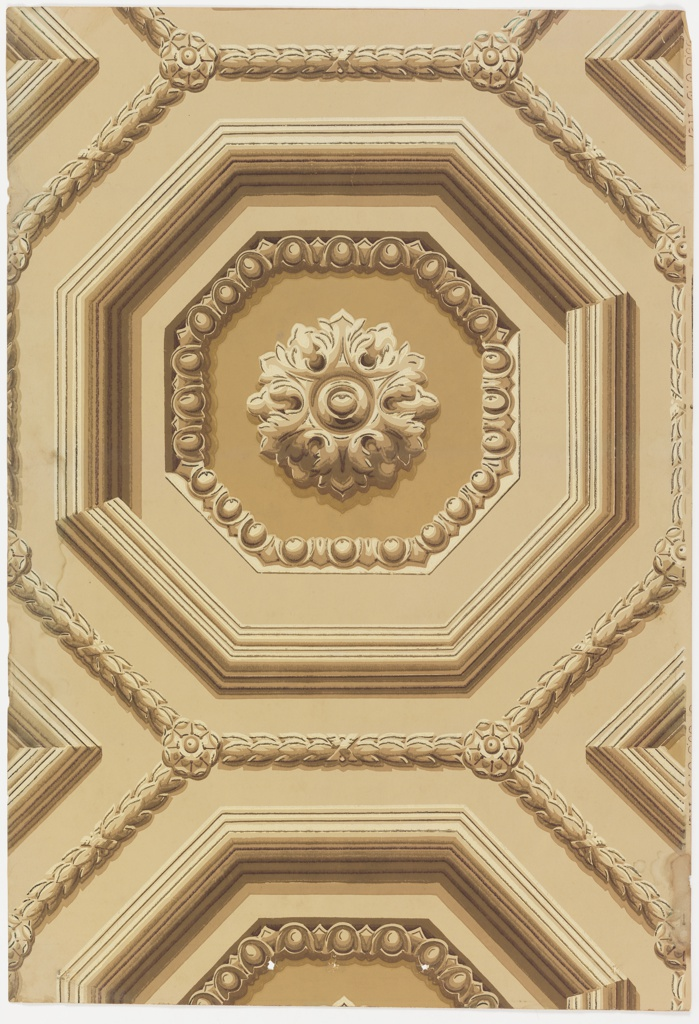 Architectural design of a coffered or relief design. Octagon shape defined by a molding enclosing an octagon egg-and-dart frame. Center shows a hexagonal rosette. Printed in sepia tones.