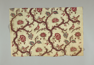 Brick repeat of two birds in the branches of a tree sparsely filled with leaves and flowers. Tree branches arranged to enclose birds and create serpentine pattern movement. Polychrome pattern on natural cotton.