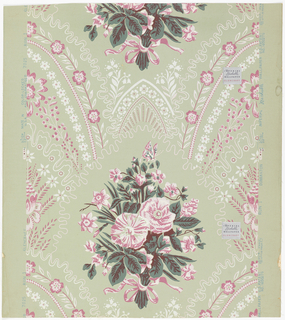 A Victorian design inspired from romantic epoch of Louis Philippe. It has a Gothic influence. A large naturalistic floral bouquet is tied with ribbon and bowknotted. Springing from upper scalloped edges of encircling lines are narrow arching bands of florettes and floral stripes meeting at top in pointed arches.  Printed in dark green, brown, pink and white on pale green ground. Printed on label affixed to front surface: Imperial Washable Wallpaper Glencraft.