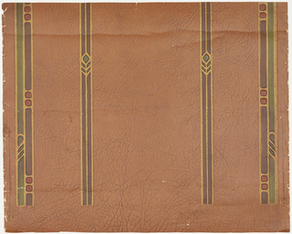 Four brown and green stripes with stylized decoration on brown glazed crackled ground. Resembles painted leather.