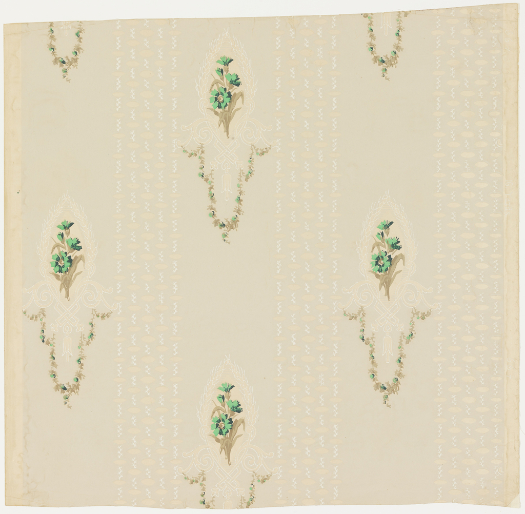"""a) Small clusters of green carnations and tan leaves arranged in a medallion of a sheaf of wheat in white outline. Medallion forms a motif in a diagonal effect. Between them are clusters of five broken lines close together running in vertical lines. The glazed field shows in the medallions and parallel lines; b) Moss rose design in soft colors mixed with sprays of tiny leaves and berries. Embossed field is composed of tiny circles. On margin is printed: """"A.W.P.M.A., 472-3""""; c,d) M.H. Birge paper with column of daisies on tan ground, from the 1903-04 Birge catalog."""