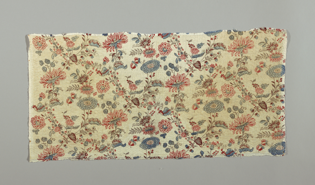 Length, probably from a skirt, of quilted linen, with wide border along one side of block-printed linen, also quilted. Design a natural size all-over floral pattern in red, dark red, light blue and brown for outlines.