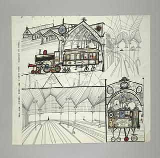 "Sample of white glazed cotton, printed in black, red, blue, green and orange. Design by Steinberg called ""Trains."" Shows in black outline vistas of railway stations, with emphasis on the metal structure. Upper left, a very old fashioned engine and coach, in train shed. On the side of the coach the inscription: ""Second class"" and in another panel the arms of England appear. The windows of the coach and part of engine are touched with color in strong blotches. Lower right, another coach, with head of woman shown through one window. At left, tracks, and one passenger alone on platform. The whole design is in cartoon form."