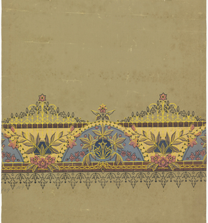Printed in wide band near bottom edge: gray half-circles under beading, alternating with motif resembling cast-iron fence. Overprinted with stylized floral motifs. Bell flower pendants below. Printed in gray, metallic gold, black, pink and brown on an olive green fabric support.