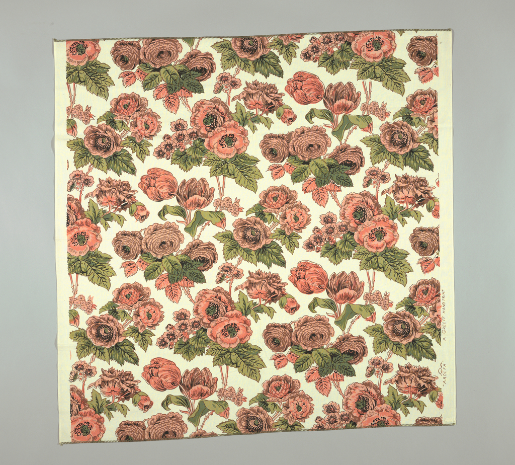 Reproduction-style fabric with large flower clusters in pale orange and yellow-green.