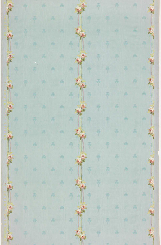 """a) Petite floral stripe pattern. Small bouquets with ribbons on moire ground with three-leaf clover motif; b) Crown frieze with floral stripe meeting in pointed arch. Pinstripe pattern above arches. Printed in selvedge: """"MH Birge & Sons Co USA""""."""