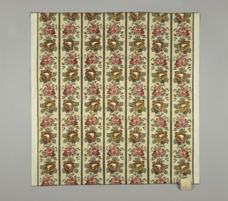 Reproduction-style fabric with a design of vertical stripes with large flower heads in shades of red, blue and green on a cream-colored ground.