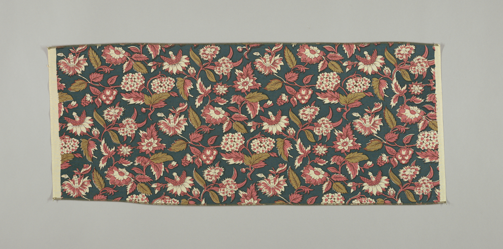 Reproduction-style fabric with a design of flowering plants in dark pink and olive green on a teal ground.