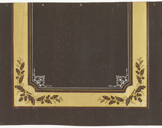Creating a section of picture frame-like design, wide gold area overprinted in corners with acorns and oak leaves. White ornament in corners of interior. Printed on deep brown fabric support.
