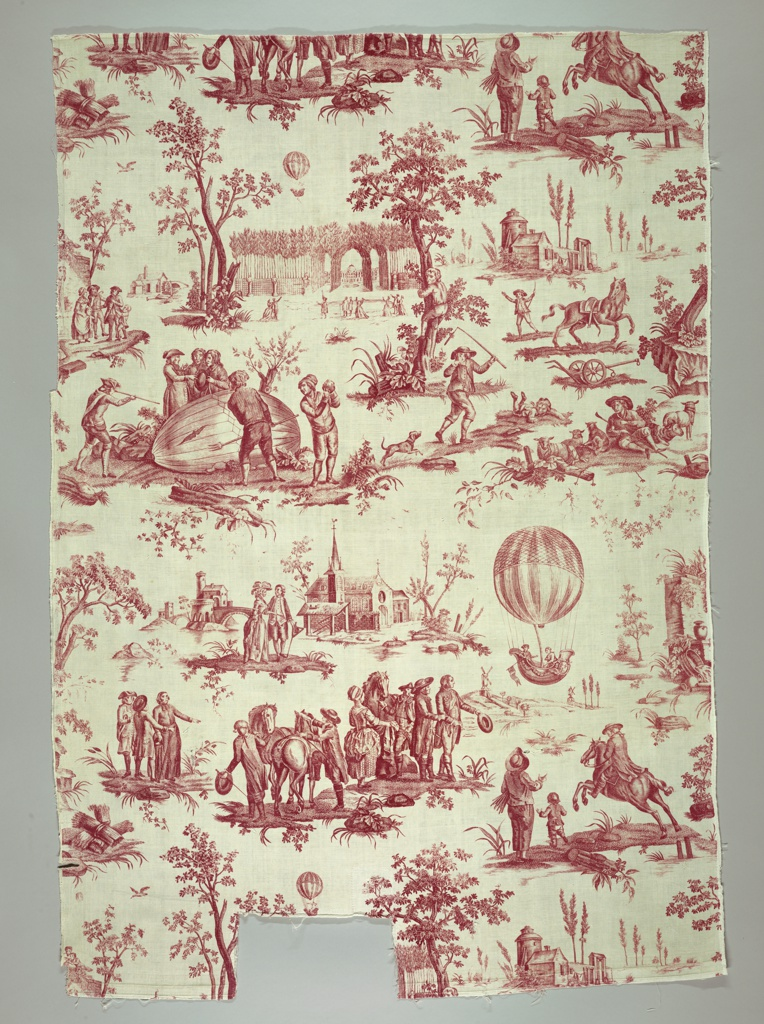 The design was assembled from contemporary prints depicting two separate balloon flights from Paris in 1783. One balloon landed in the village of Gonesse; frightened villagers mistook the ballon for a monster and called for an exorcism. The second flight, the first to carry human passengers (Nicolas Robert and Jacquest Charles), landed on the Nesles plain 22 miles from Paris, where it was met by a delegation of citizens. Printed in red on white cotton, seamed in the center; both selvedges present.