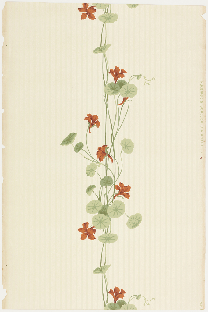 """a) On textured paper, white and shiny pink stripes. Over this, orange and yellow geraniums and green foliage in vertical banding at center of panel. b) Frieze for """"a"""": geraniums in gray hanging pot, gray ribbon in swags along top border."""