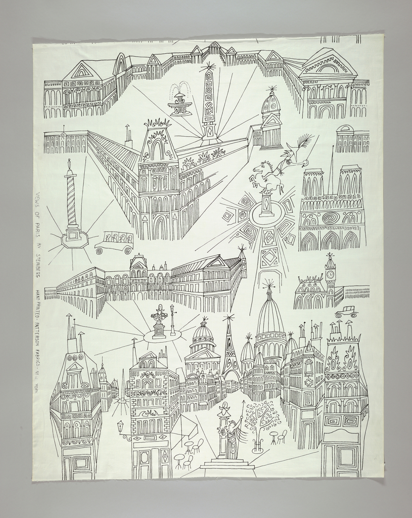Linear drawing of Parisian monuments in black on white.