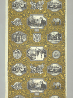 Length of printed cotton designed in honor of President Dwight D. Eisenhower. The design is arranged in the manner of a French early 19th century print, with scenes in medallions from the President's life: the Abilene house, West Point, Columbia University, The White House, the Gettysburg house, and the Denver house. Enframement of oak leaves and flowers, military trophies, and the Republican elephant. In yellow, brown, black and white.