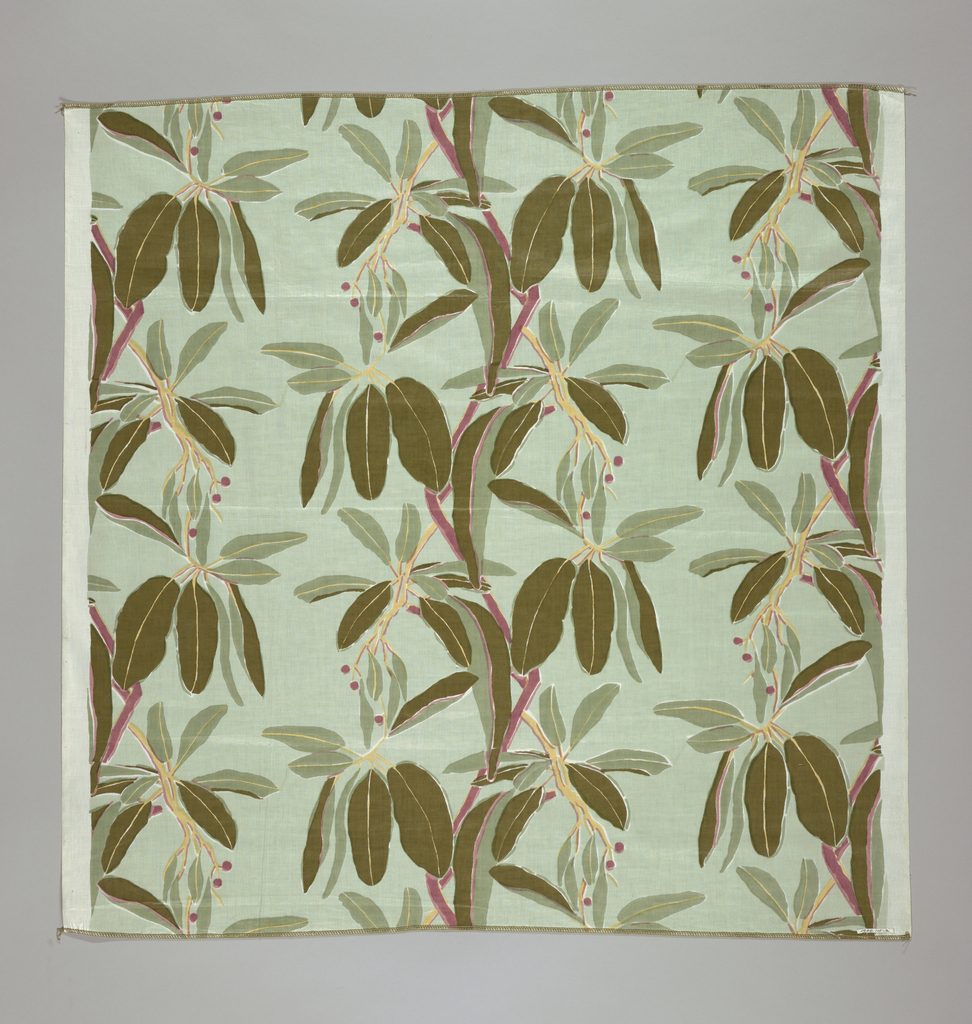 Design of stems with leaves and berries in shades of green, mulberry and yellow on a pale green ground.