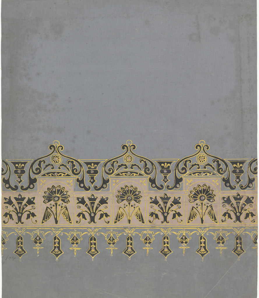 Band of stylized floral motifs, with two motifs alternating, near bottom edge. Printed in black and gold with mica flake highlights, on mauve background. Band of ornament above and pendants below. Printed on gray fabric support.