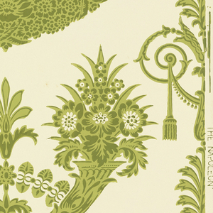 Floral swags, tassels, pair of crossed flower-filled horns, etc., in two shades of green on white ground, reproducing an Empire-style design.