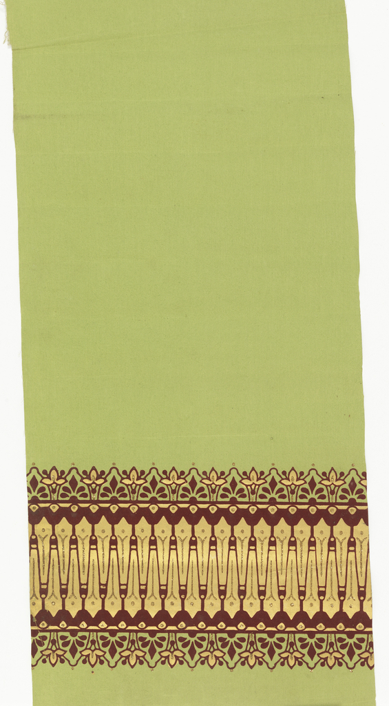Printed in gold, burgundy flock and gold mica flakes. Wide band of gold across lower edge. Overprinted with flock creating spiky shapes, each highlighted with mica flakes. Band of stylized floral motifs alternating with anthemia both above and below. Printed on light green fabric support.